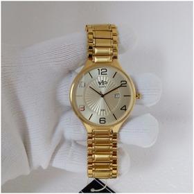 Relógio Masculino Vip Quartz Mh 295 Dourado Slim Original
