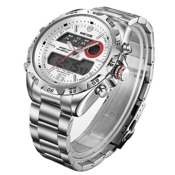 b48373ae51 relógio masculino weide anadigi wh-3403 prata e branco · relógio masculino  weide
