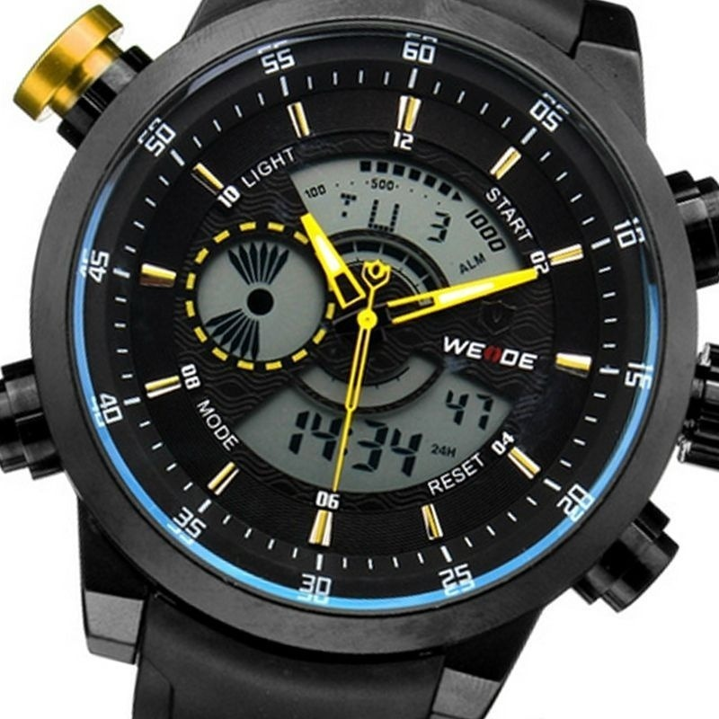 b315b2e1299 Relógio Masculino Weide Anadigi Esporte Wh-3401 Amarelo - R  199
