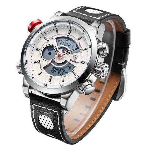 9e03386883d relógio masculino weide anadigi wh-3401-c prata e branco · relógio  masculino weide