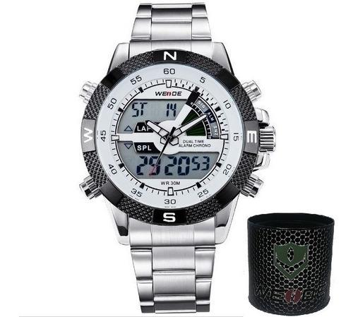 relógio masculino weide anadigi wh-1104 origina cinza branco