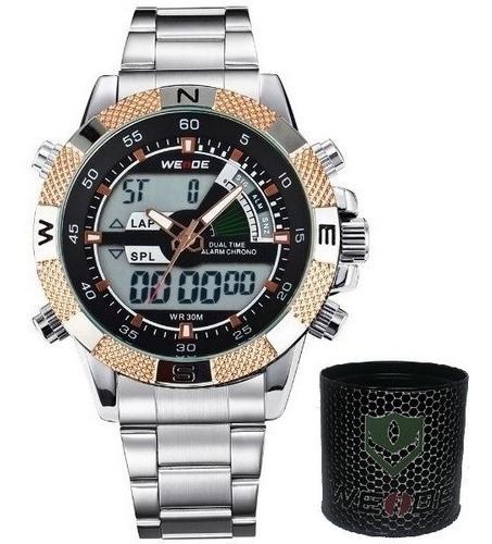 relógio masculino weide anadigi wh-1104 prata a prova d agua