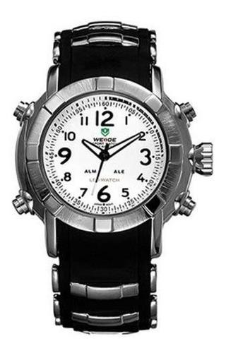 relógio masculino weide anadigi wh-1106 preto e branco