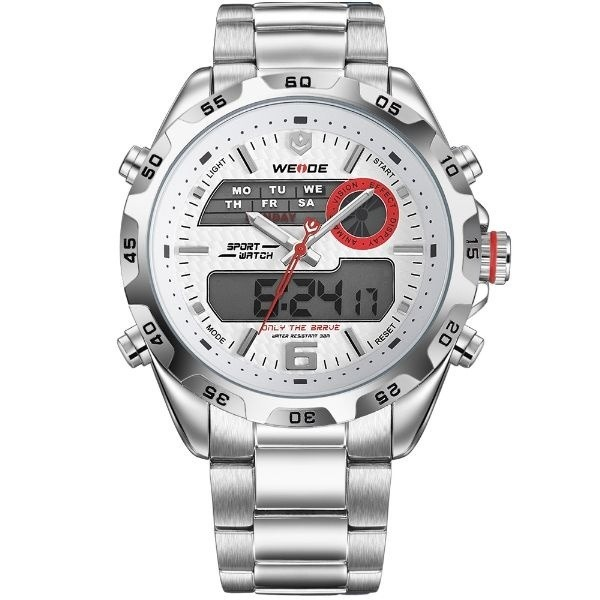 f730c7639a Relógio Masculino Weide Anadigi Wh-3403 Prata E Branco - R  153