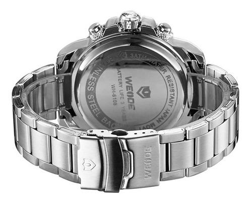 relógio masculino weide anadigi wh-5209 branco original
