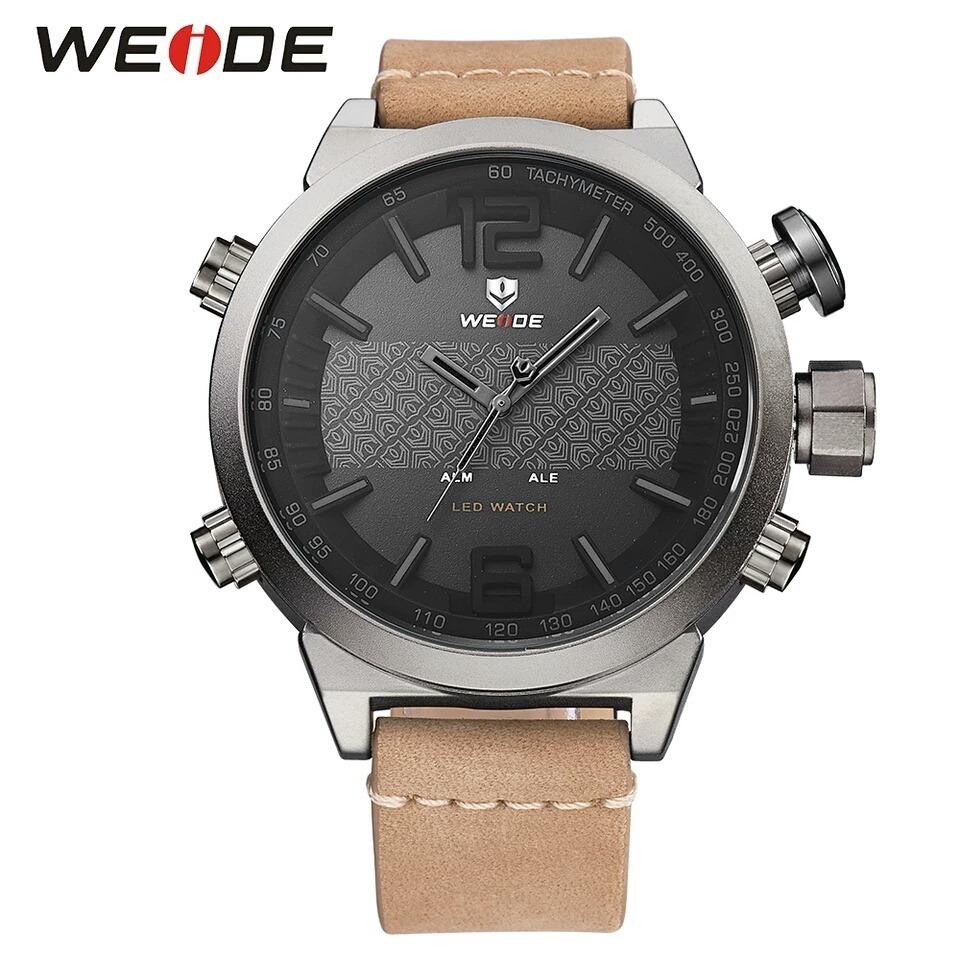 103152ca0fd relógio masculino weide wh-6101 dual time led pulseira couro. Carregando  zoom.
