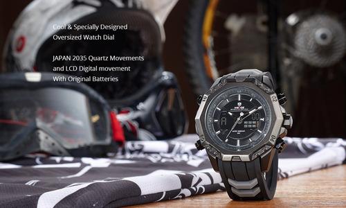 relógio masculino weide wh6406b-1c aço inox promoção