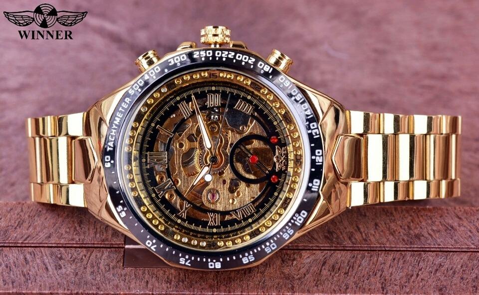 31843217b84 relógio masculino winner dourado luxo automático mecânico. Carregando zoom.