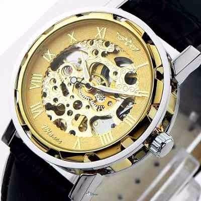 relógio masculino winner esqueleto dourado homens modernos