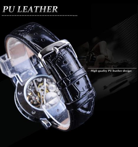 relógio masculino winner luxo skeleton silver gmt10896