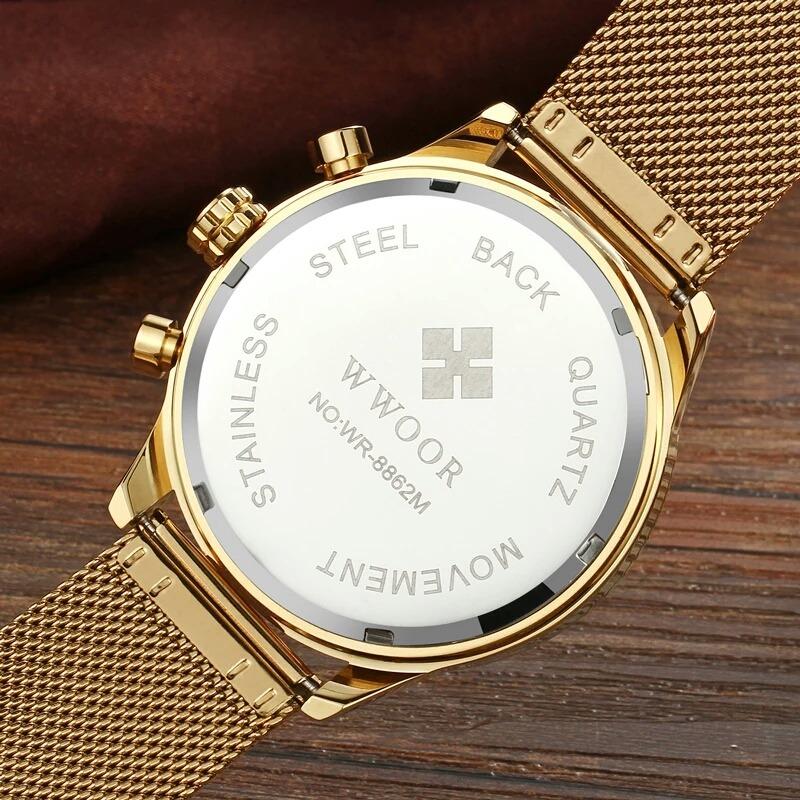 ab3043d9541 relógio masculino wwoor dourado 8862 luxo original promoção. Carregando zoom .