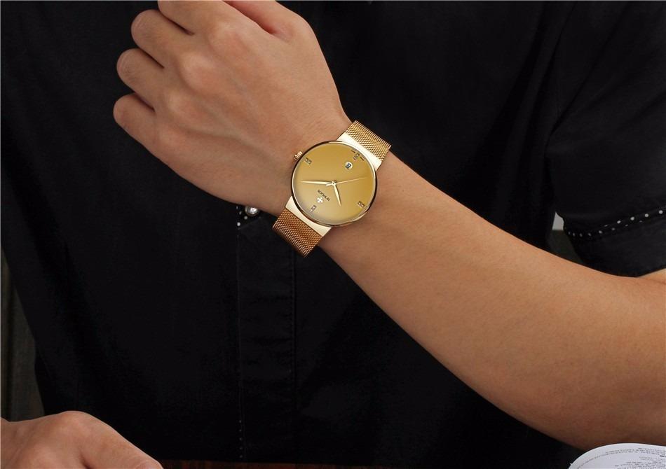 80dbecf9eb7 Relógio Masculino Wwoor Fino Quartz Japonês Luxuosso - R  189