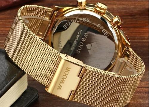 relógio masculino wwoor original luxo 8862 com caixa