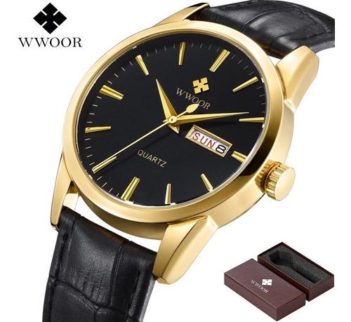 relógio masculino wwoor pulseira couro gold caixa original