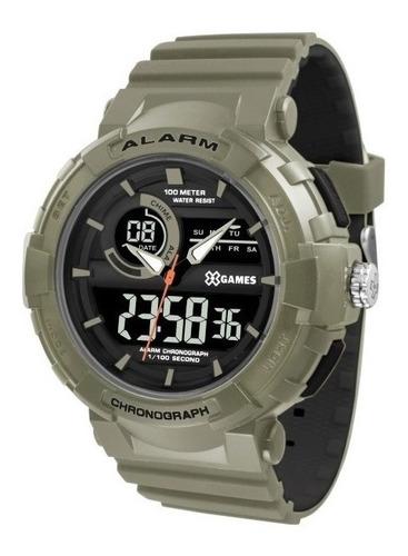 relógio masculino x-games anadigi verde xmppa265pxip
