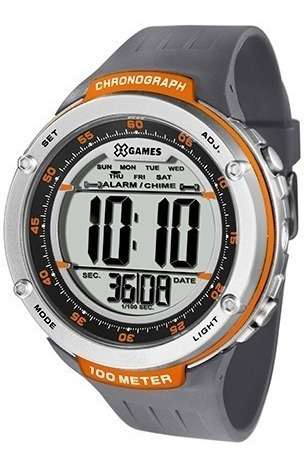 relógio masculino x games, digital, 100 metros, laranja