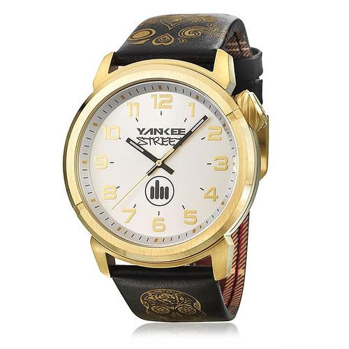 relógio masculino yankee street black angels ys30443b couro