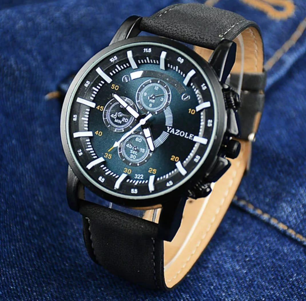 0d734572a3e relógio masculino yazole 322 social couro barato. Carregando zoom.