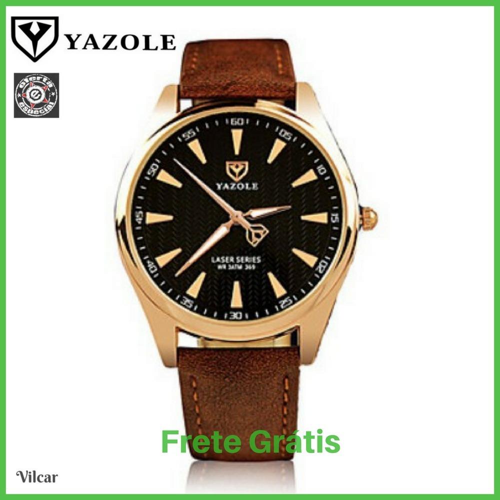 relógio masculino yazole 369 dourado pulseira couro mr pr. Carregando zoom. 1652c37757