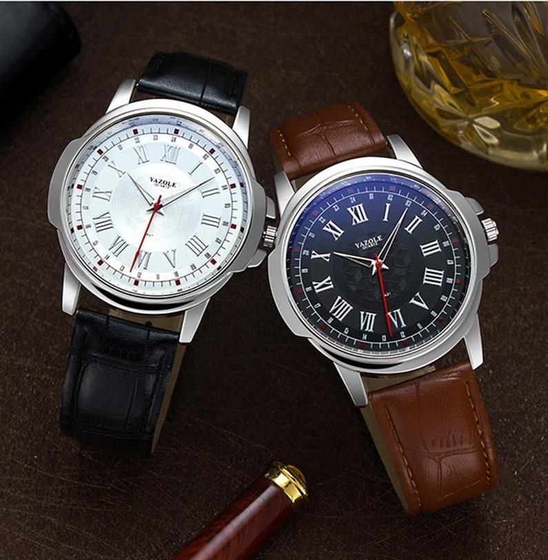 e907fae05b1 relógio masculino yazole 421 romano couro quartzo pulso. Carregando zoom.