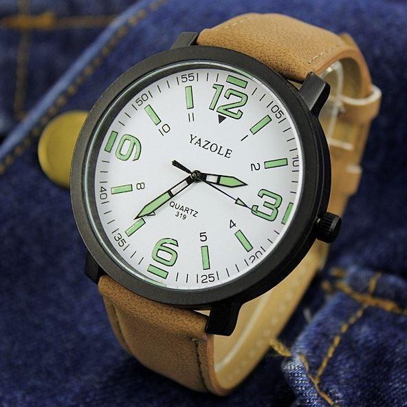 9741811f7a8 Relógio Masculino Yazole Couro Números Grande Cód.154 - R  24