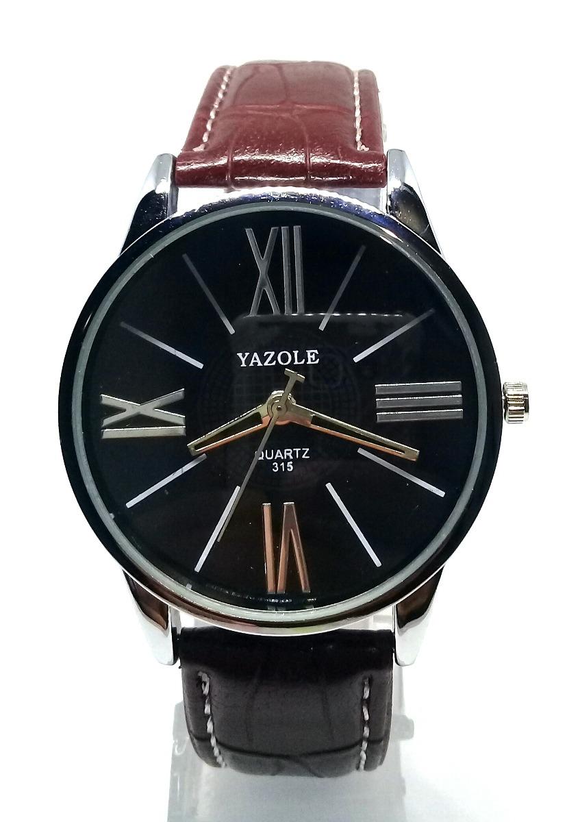 321b17f9823 relógio masculino yazole pulso aço inox couro barato quartzo. Carregando  zoom.