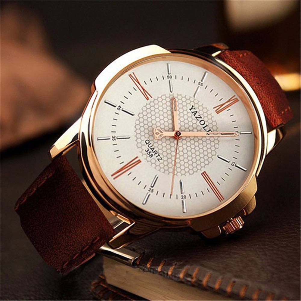 6698de12020 relógio masculino yazole quartz moda social pulseira couro. Carregando zoom.