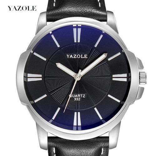 relógio masculino yazole quartzo top couro barato pulso