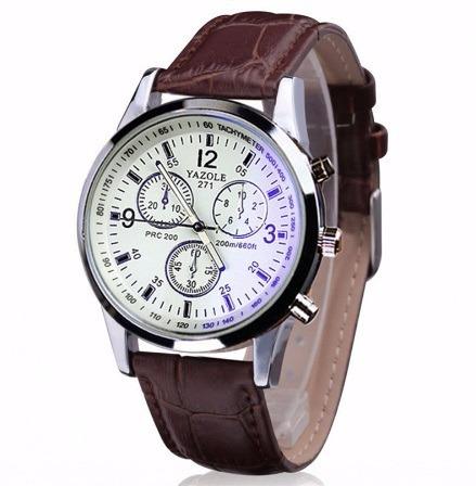 e3404800394 Relógio Masculino Yazole Social Couro Luxo Top Barato - R  24