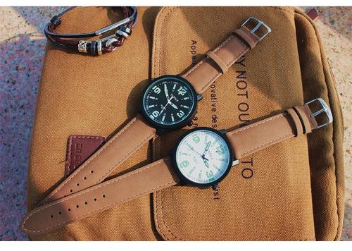 relógio masculino yazole top pulseira de couro quartzo acend