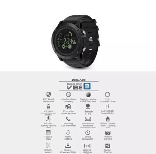 relógio masculino zeblaze vibe3 ip67 gorilla glass original