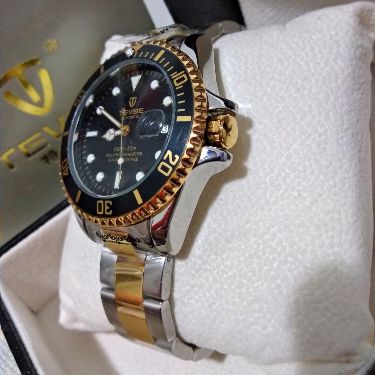 1f0209c833b relógio mecânico dourado masculino tevise t801a. Carregando zoom.