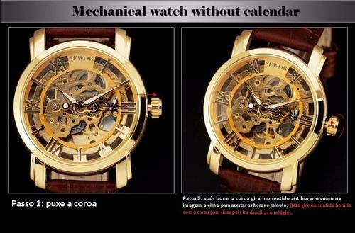 relógio mecânico vencedor esqueleto pulseira de couro