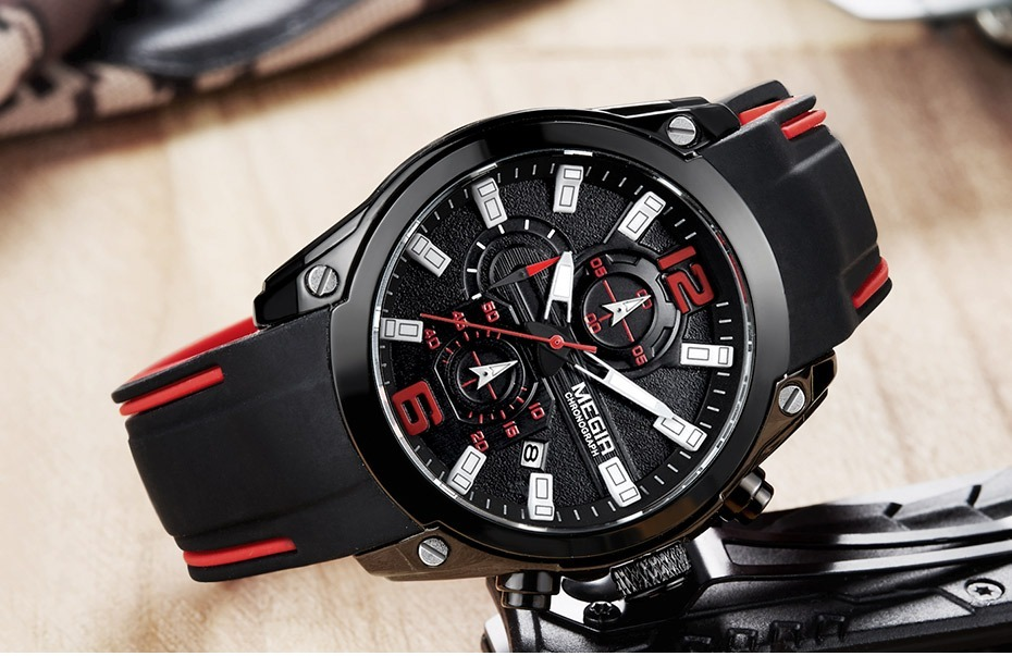 33a41c4205f relógio megir chronograph masculino preto. Carregando zoom.