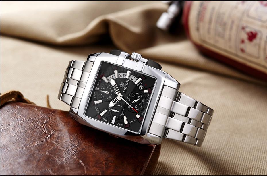c2fbfb01a0f Relógio Megir De Luxo Cinta De Aço Inoxidável - R  179