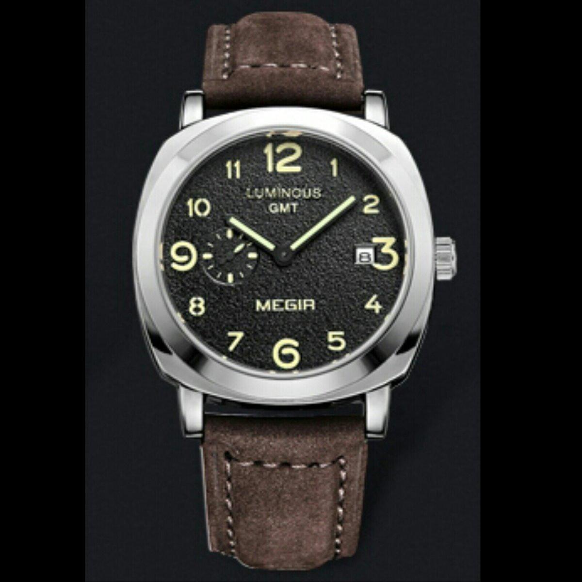 8a711904c2a Relógio Megir De Luxo Modelo 1046 Original Militar Ptata - R  178