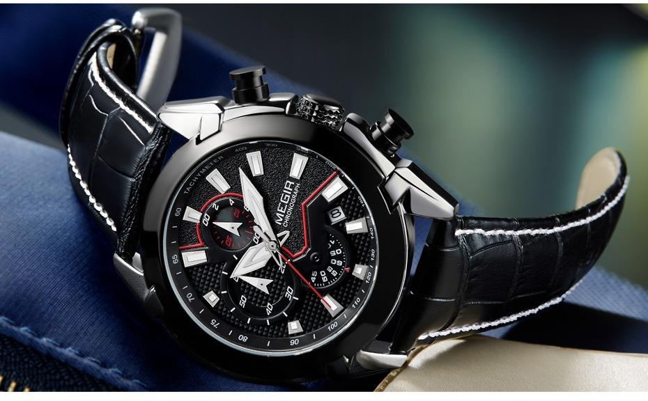 4f8958bdc09 relógio megir masculino de luxo marca famosa quartz preto. Carregando zoom.
