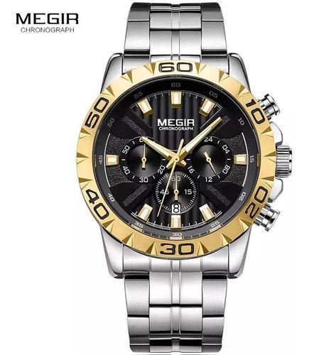 relógio megir masculino, luxo, pulseira de aço, esportivo