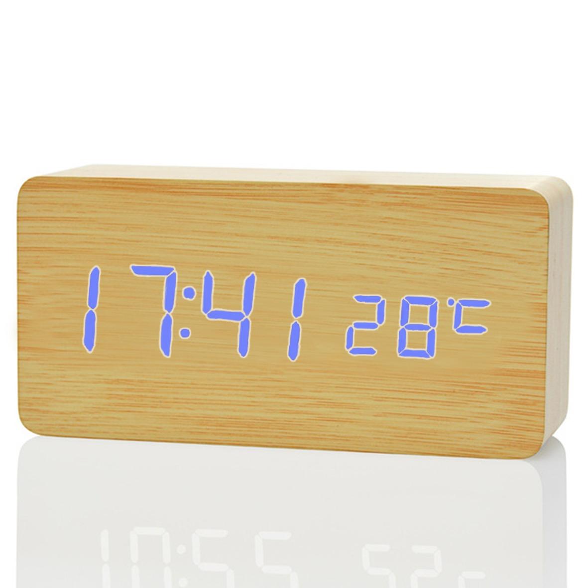 e4fa45f9dbf relógio mesa madeira digital led azul decoração termômetro. Carregando zoom.