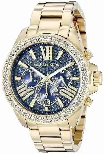 46f2aad8641f6 Relógio Michael Kors-6291 Dourado Strass Original Com Caixa - R  459 ...