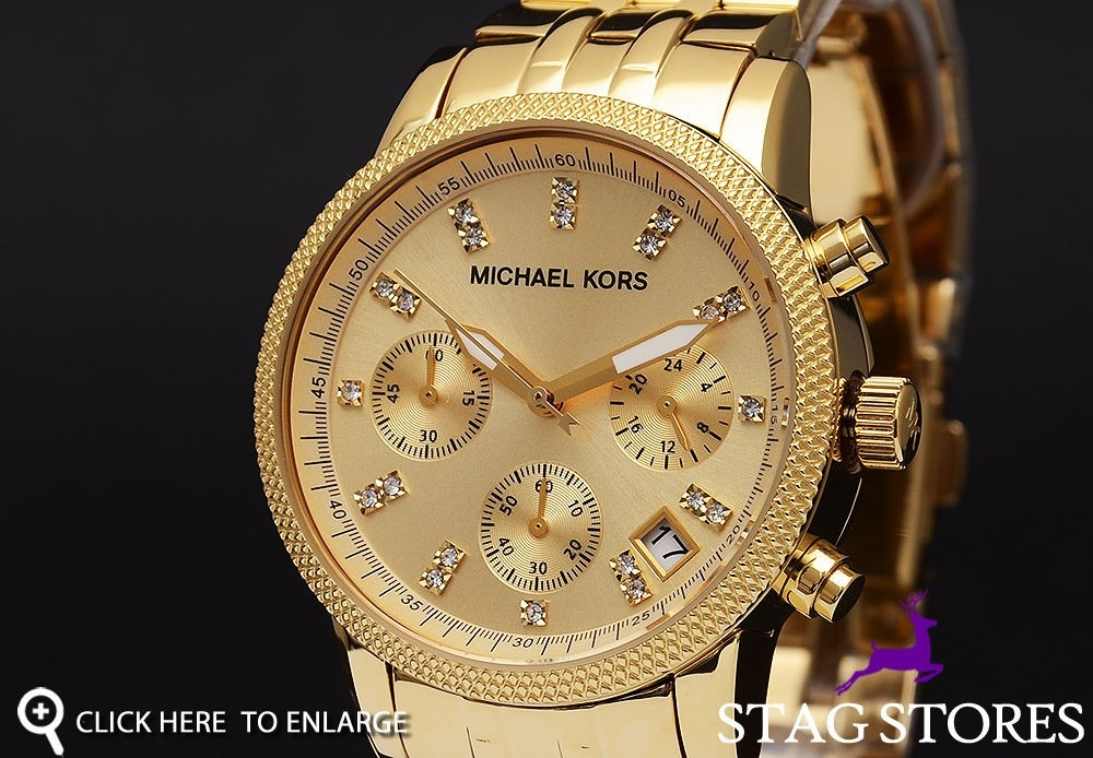 Relógio Michael Kors Mk5676 Dourado Com Cristal Frete Grátis - R ... 934230b16a