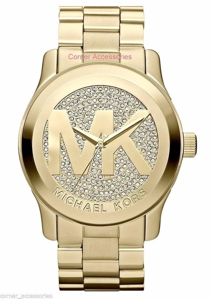 94fc108da11 Relógio Michael Kors Mk5706 Cristais Grande Dourado Mk Orign