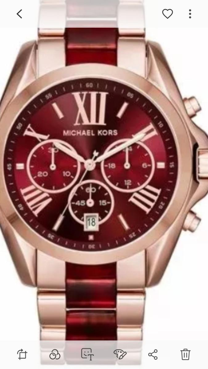 71f48f2ae1f Relógio Pa0344 Michael Kors Bradshaw Dourado E Vermelho - R  399