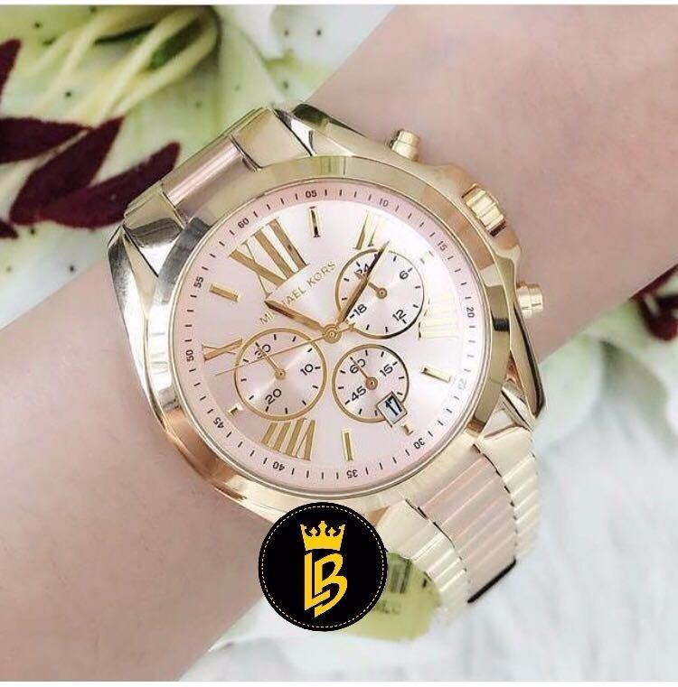 a85378b4de9be Relógio Michael Kors Mk6359 Dourado Com Rosa - R  851