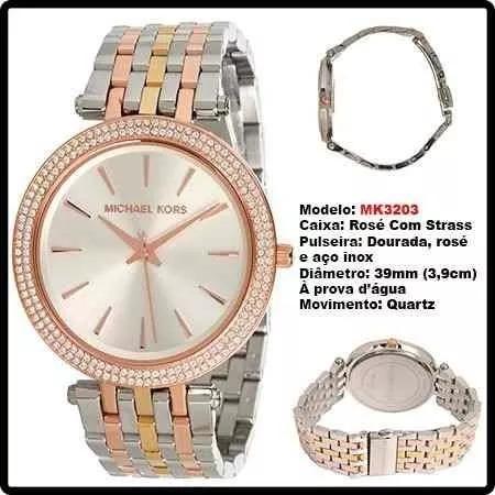 da27dd651e2f7 relógio michael kors 3203 prata rose dourado top com caixa. Carregando zoom...  relógio michael kors