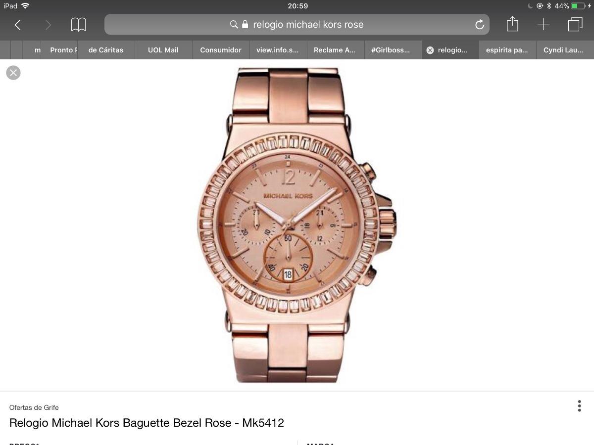 Relógio Michael Kors Baguette Bezel Rose Mk5412 Usado - R  500,00 em ... da62a9c313