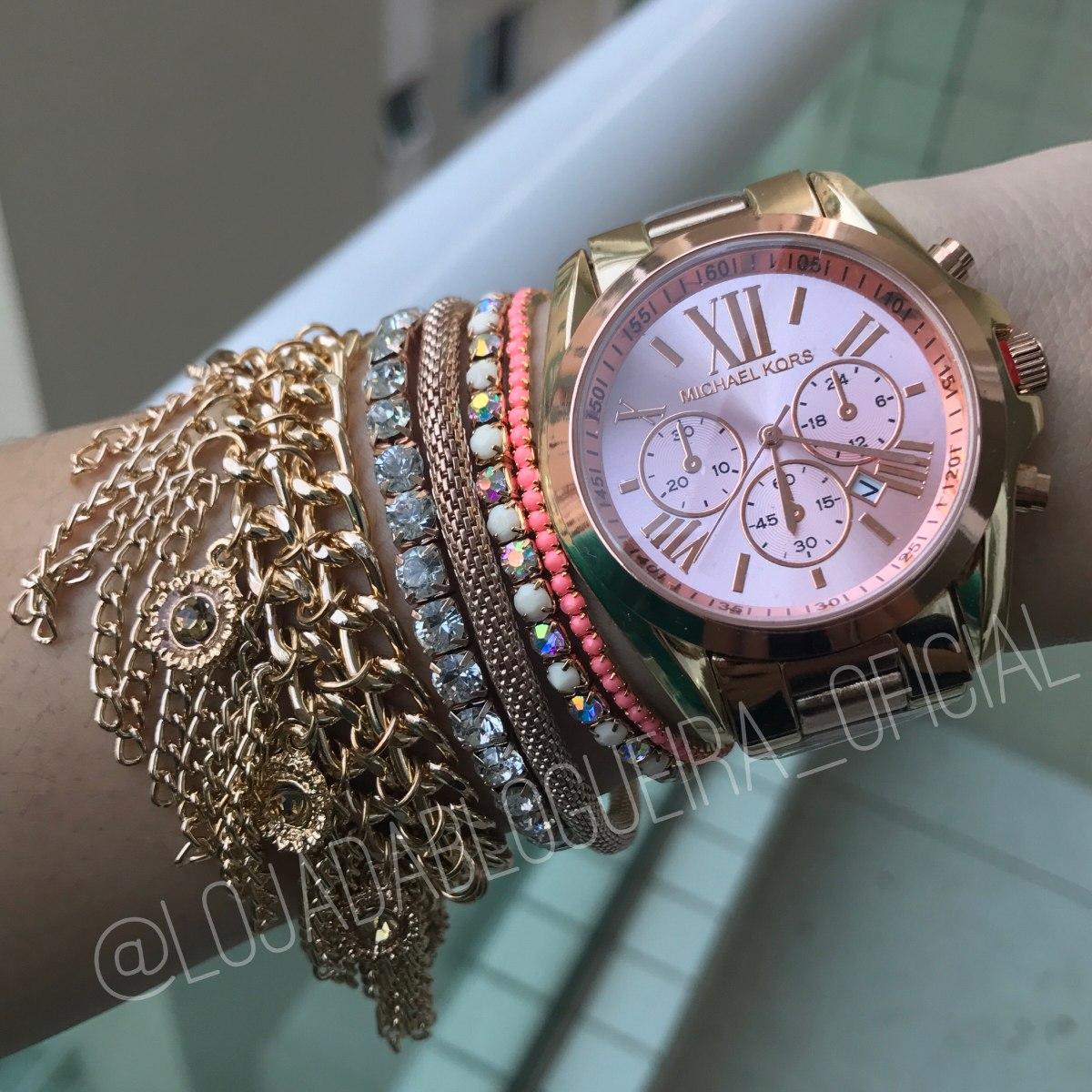 5d4a554c002 relógio michael kors dourado e rose + pulseiras + frete. Carregando zoom.