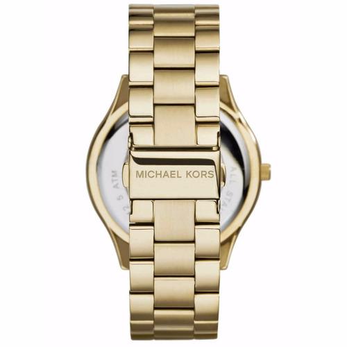 598bcaef48b29 Relógio Michael Kors Feminino Slim Runway Dourado Mk3478 4pn - R ...