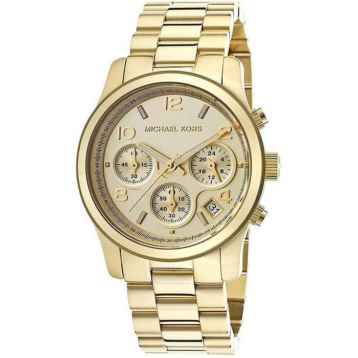 46a3e31c4dc39 Relógio Michael Kors Gold Runway Cronograph Mk5055 4dn - R  1.599,90 ...