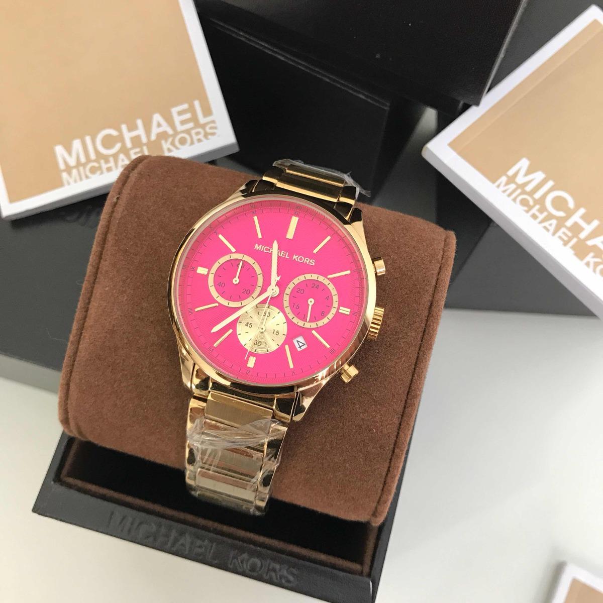 e8fd622f3dc relógio michael kors mk-5909 dourado fundo rosa. Carregando zoom.